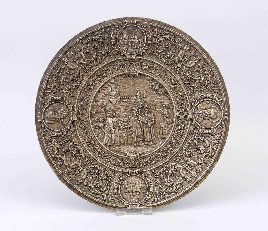 Reliefzinnplatte, spätes 19. Jh., flacher Wandteller