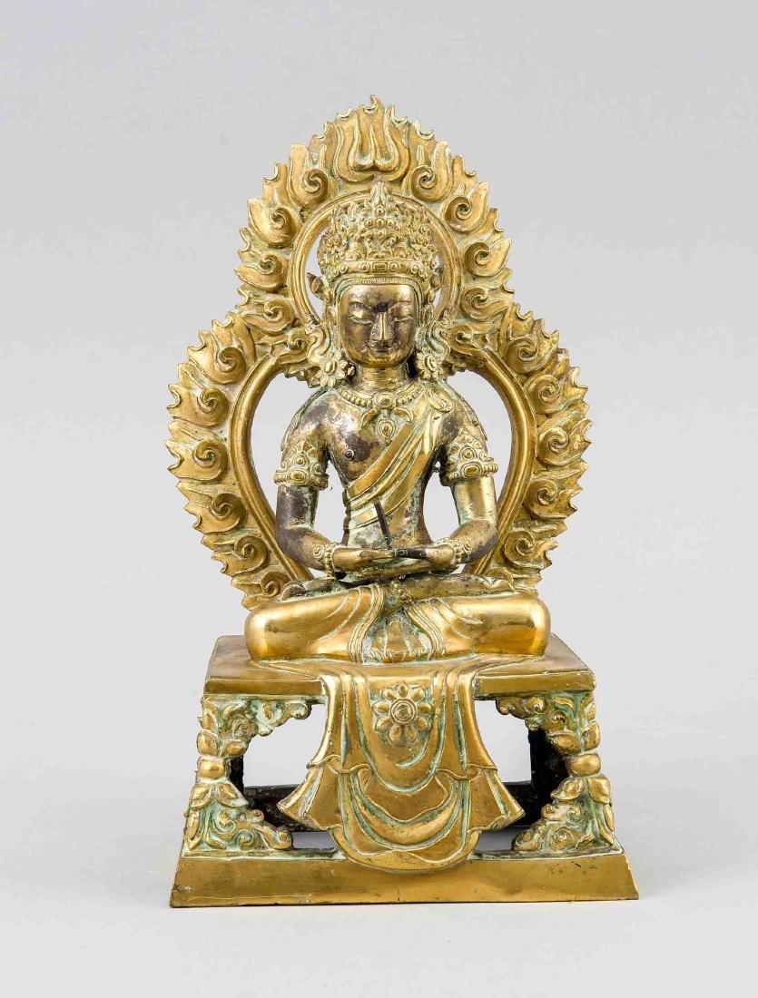 A Sinotibetan gilt bronze figure of Buddha Amitayus,