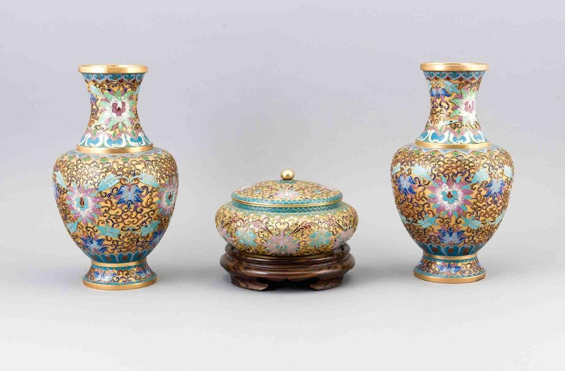 Three pieces Cloisonné, China, early 20th century,
