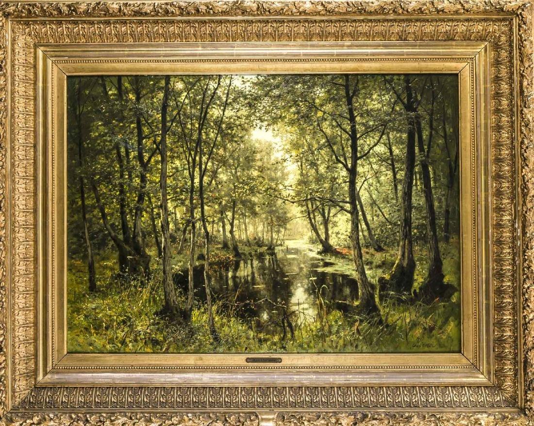 Max Hoenow (1851-1909), Morgen im Walde, Öl/Lwd