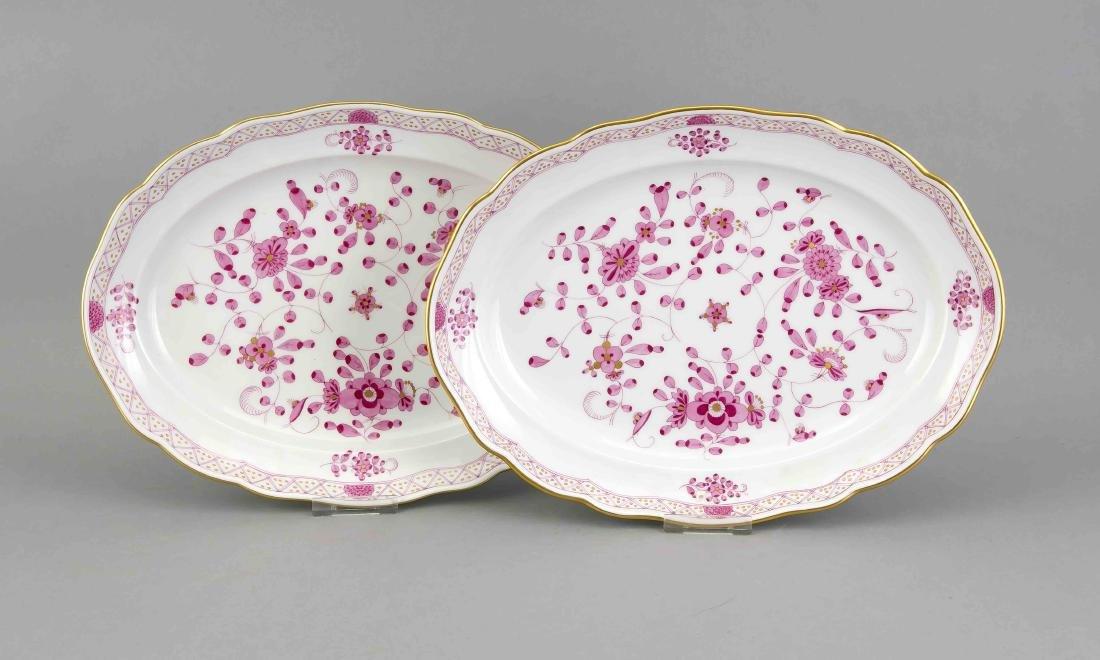 Zwei ovale Platten, Meissen, Marken um 1980, 1