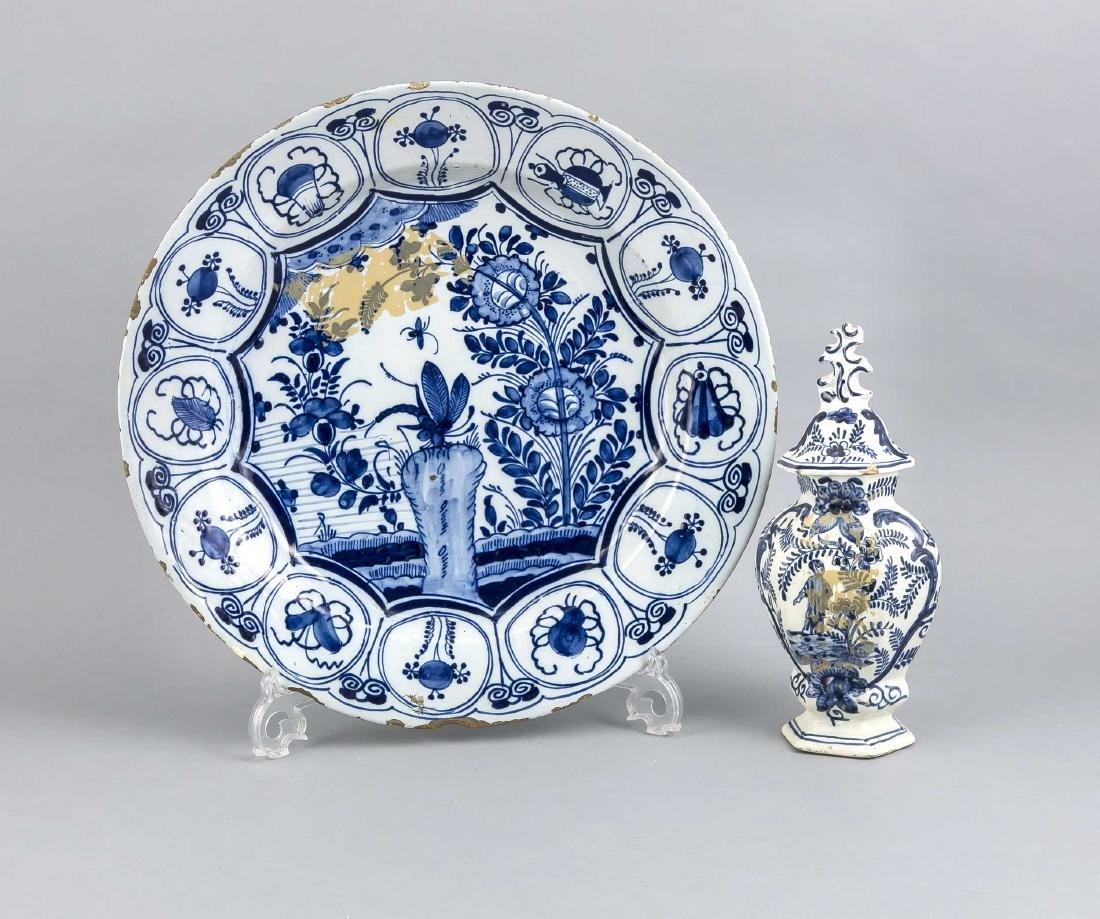 Vase und Teller, Delft, Holland, 18