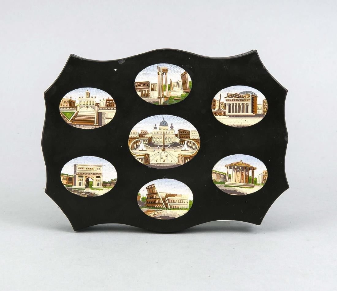 Mikromosaik mit 7 römischen Ansichten, Mitte 19