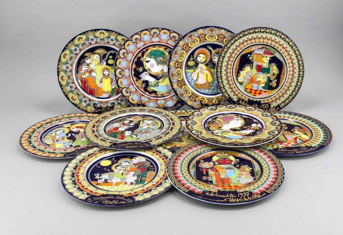 Eleven Christmas plates, Rosenthal, design Björn