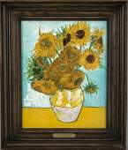 Picture tile Delft 1990 Sunflowers by Van Gogh on