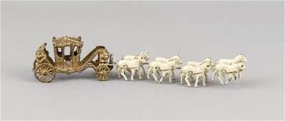 Eight-horse miniature horse-drawn carriage, c. 1900,