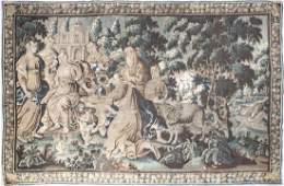 Tapestry, around 1700, antique garden scene with group