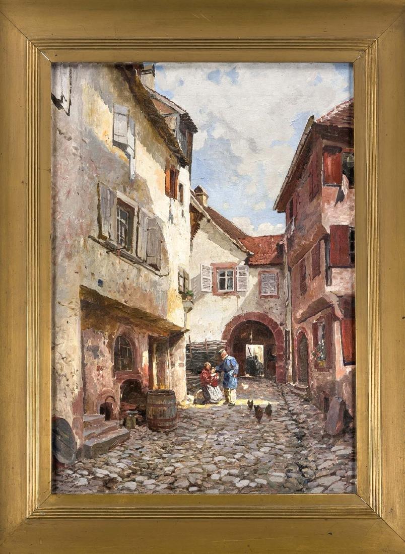 Signed G. Heicker, painter around 1900, old town street