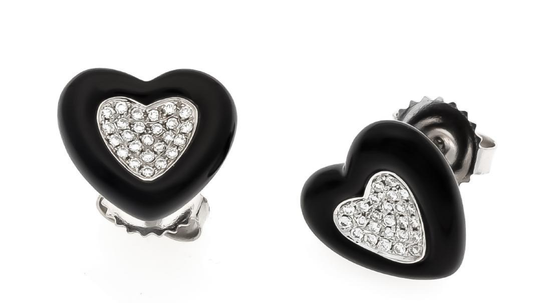 Bakelite diamond heart earstud WG 750/000 with bakelite