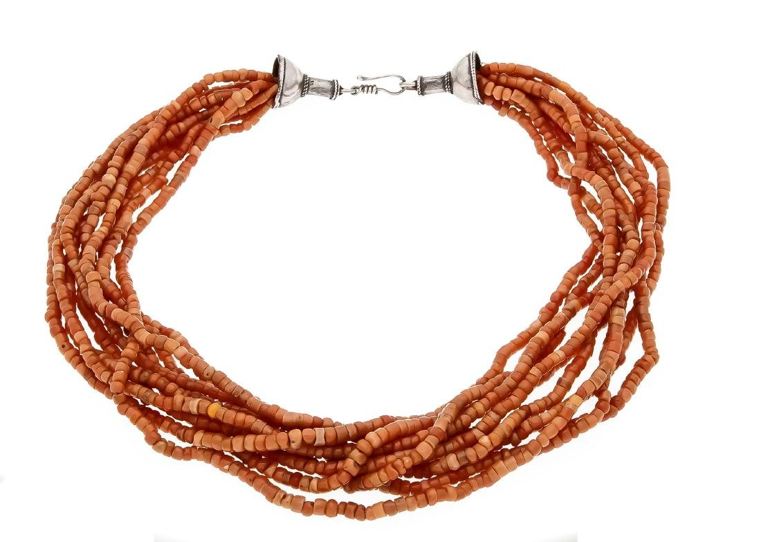 Coral necklace with hook clasp, silver, with round
