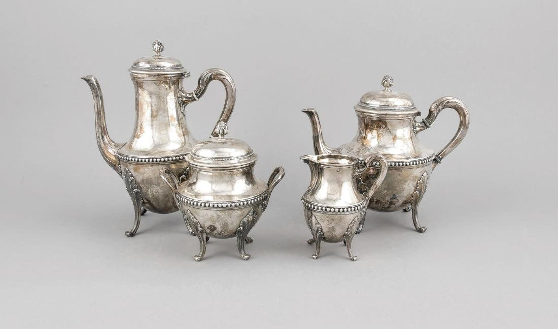 Four piece coffee and tea set, France, around 1900,