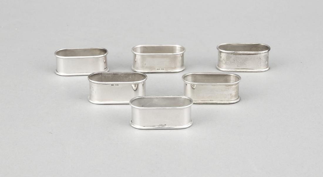 Six napkin rings, German, 20th cent., Sterling silver
