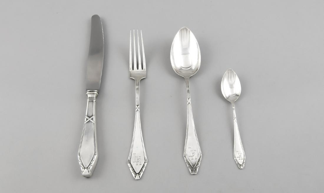 27 pieces Art Nouveau cutlery, German, around 1900,