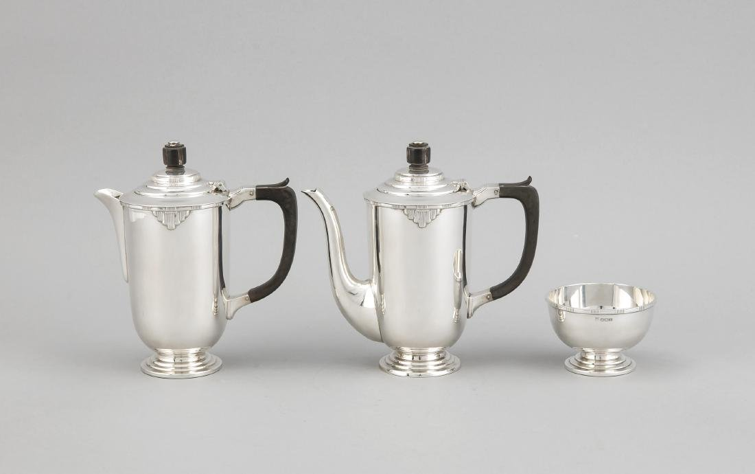Two pots and a sugar bowl, England, 1947, halllmarked