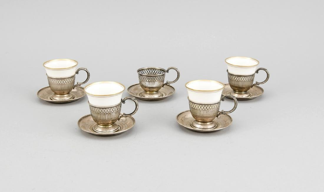 Five cups with saucers, 20th cent., Sterling silver