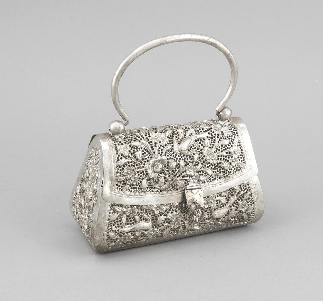 Evening bag, 20th century, plated, richly open worked,