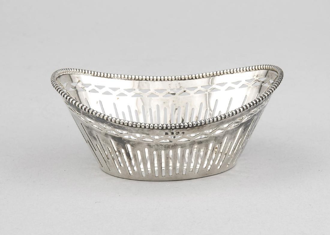 Oval Basket, Netherlands, 20th Century, marked silver,