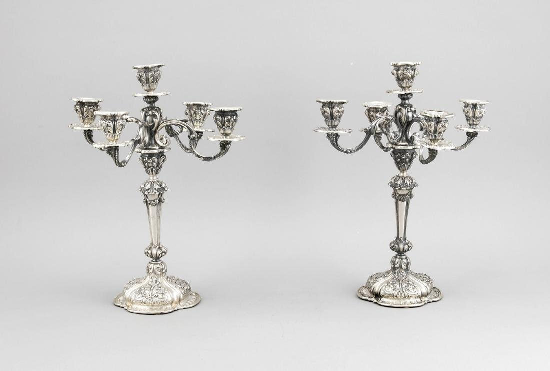 Pair of candelabras, around 1900, silver 800/000,