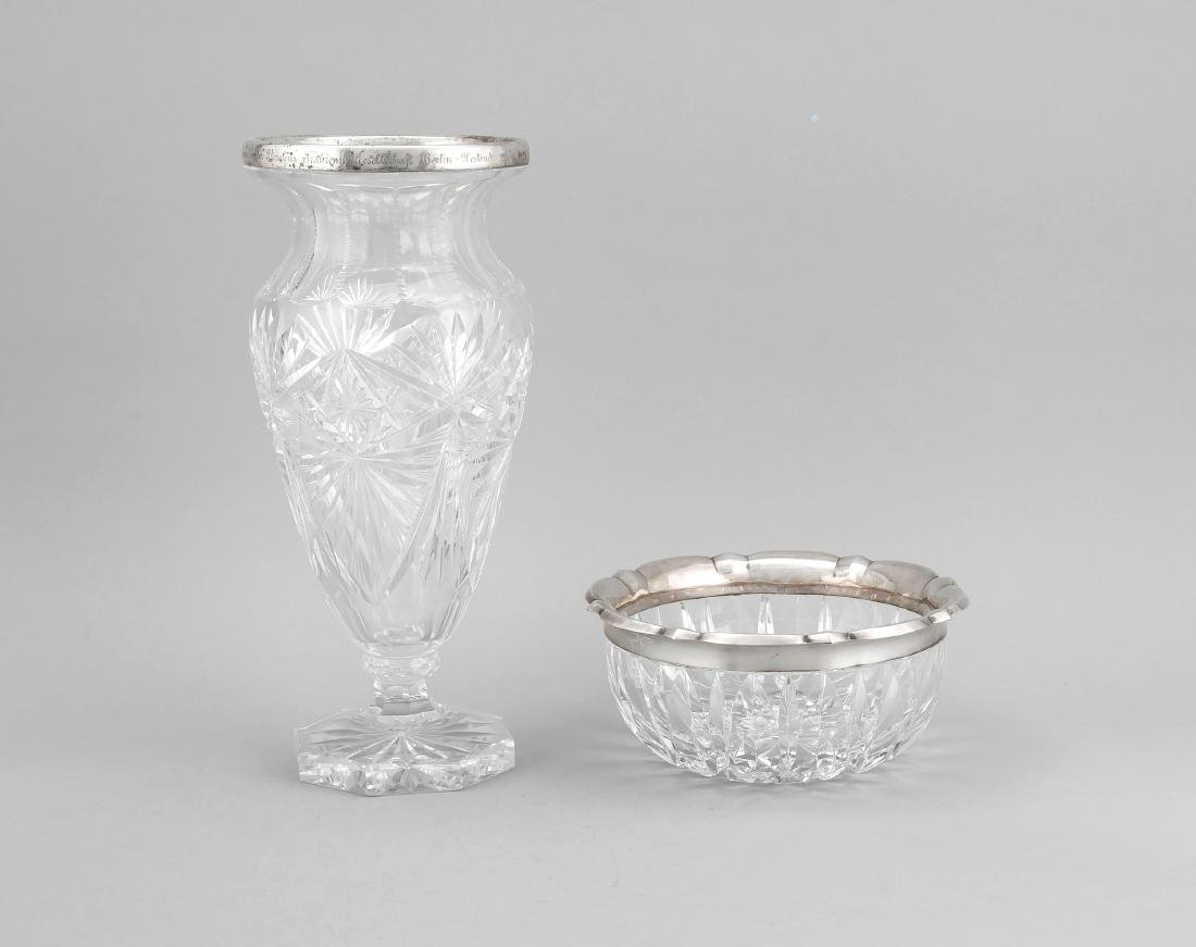 Vase and bowl with silver rim mounting, German, 20th