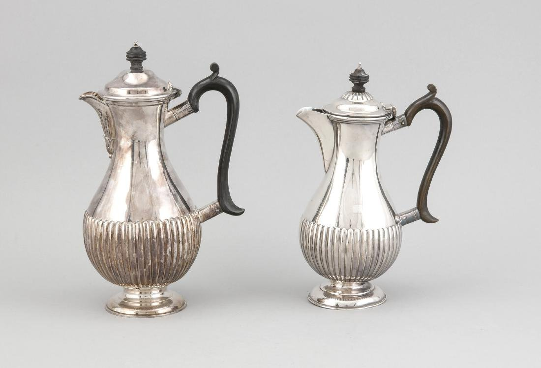 Two coffee pots, England, 20th century, plated, round