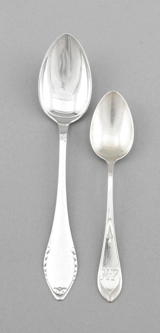 Convolute of eleven spoons, 6 German, around 1900,