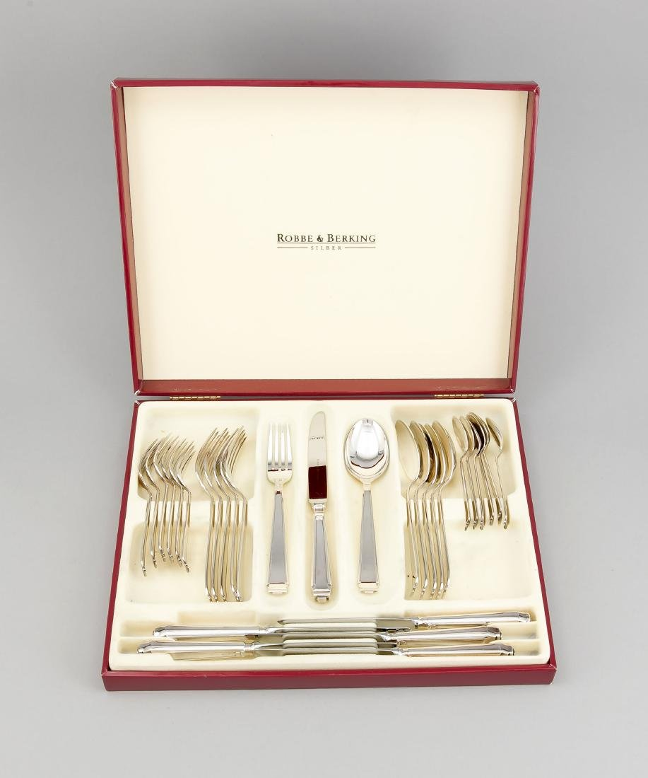 Cutlery for six persons, German, 20th cent., hallmarked