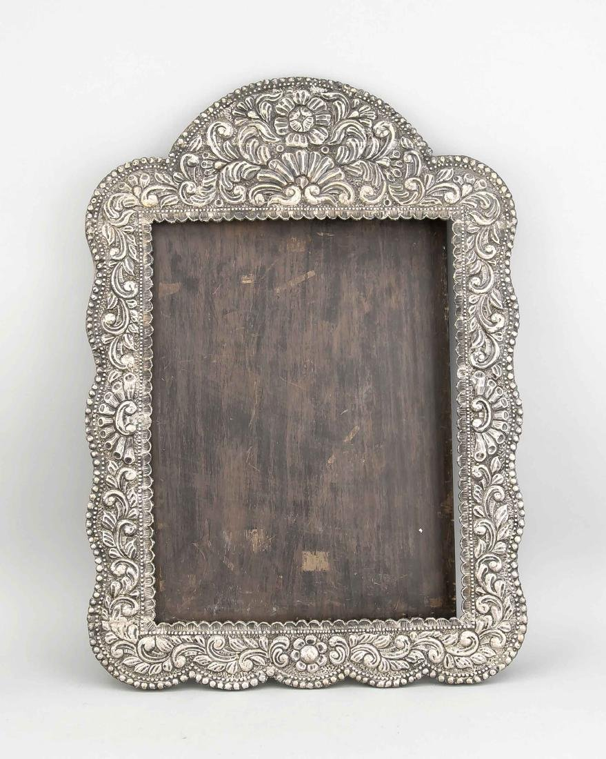 Large frame, around 1900, wood and embossed silver