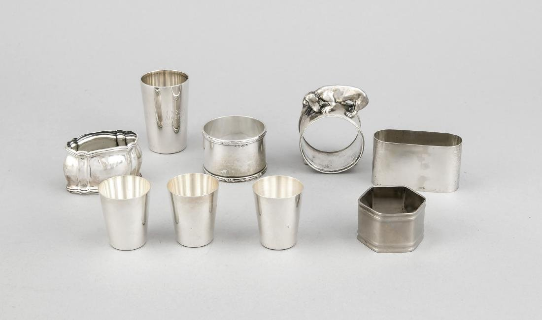 Three napkin rings and four schnapps beakers, German,