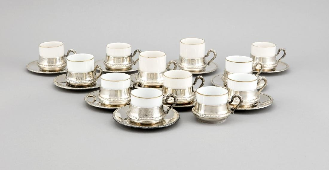 12 cups with 11 saucers, Italy, hallmarked F.lli di