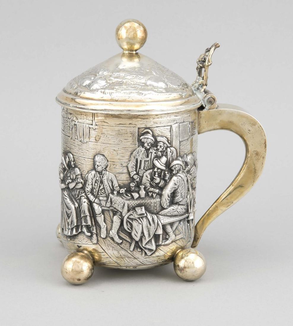 Lidded Tankard in historicizing style, silver