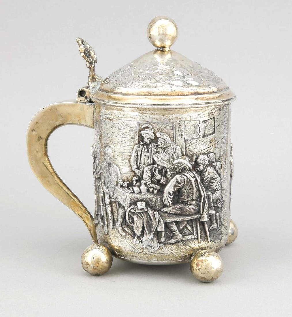 Lidded Tankard in historicizing style, silver - 2