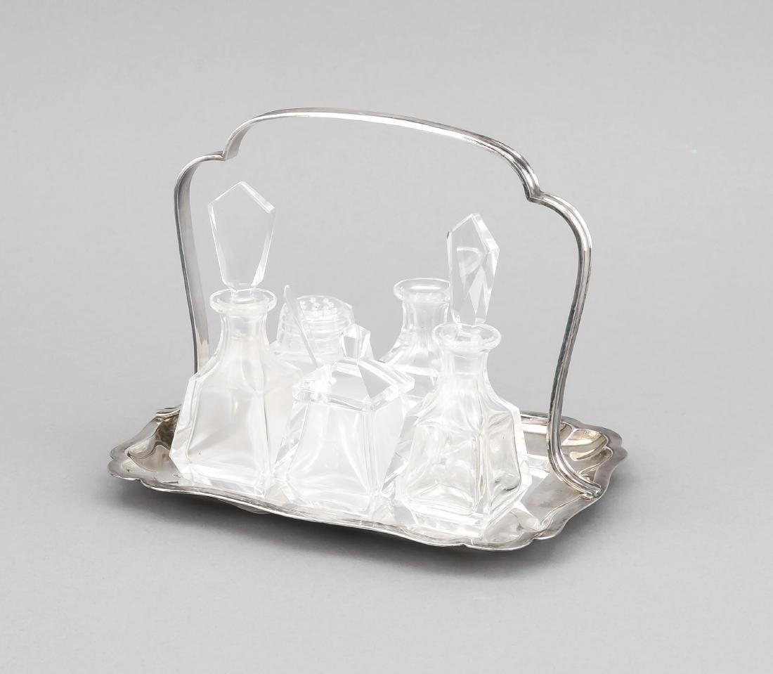Menage, Silber (835/000), Glas. Deutsch, 20. Jh.,