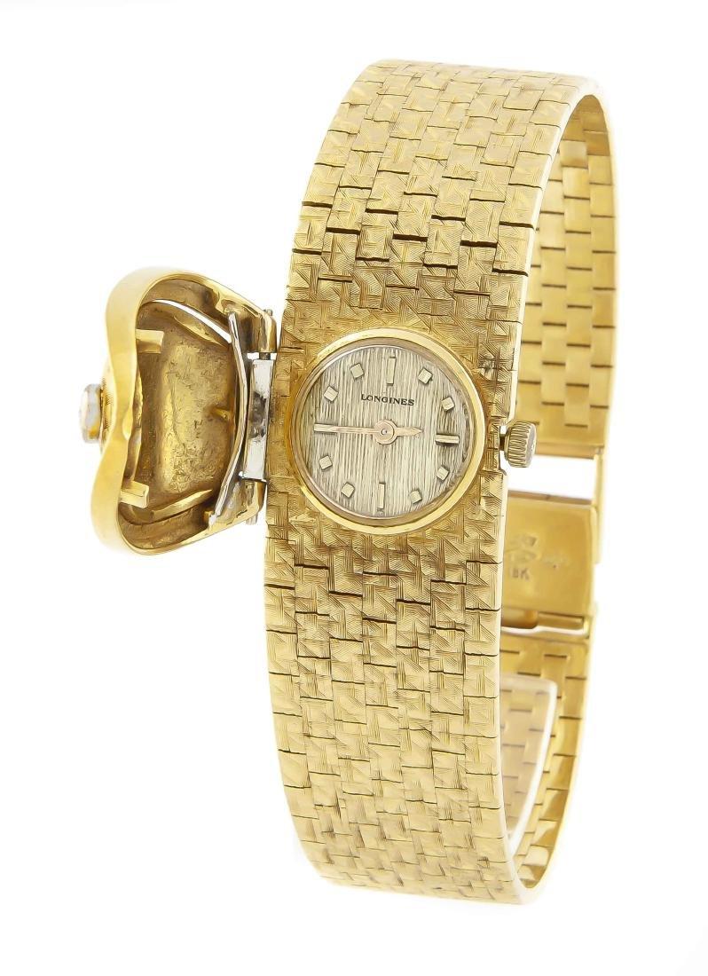 Damenuhr Longines, 750/000 GG, als Armband gearbeitet,