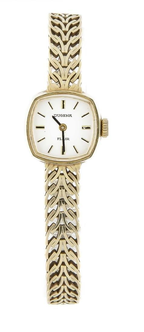 Damenuhr 585 Gold mit Goldband, Dugena Flair,