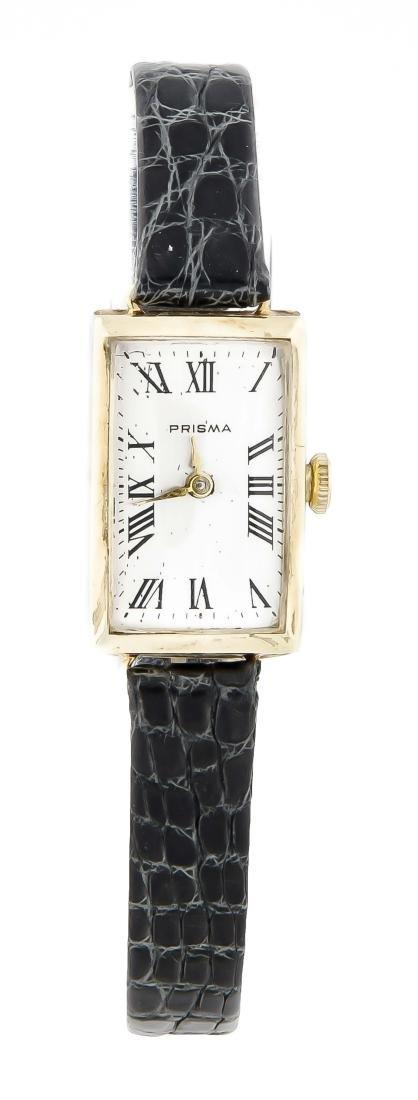 Damenarmbanduhr Prisma, 585 Gold, Lederband mit