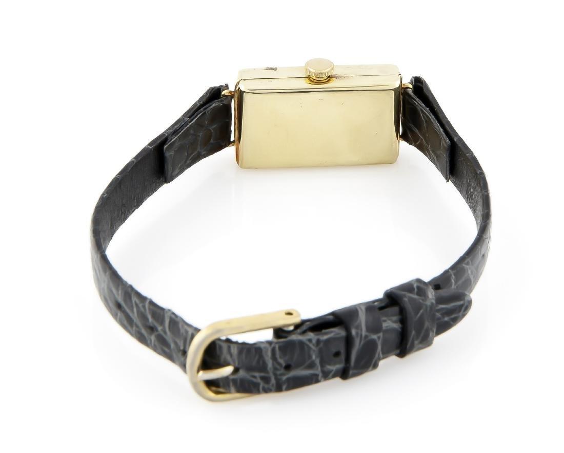 Damenarmbanduhr Prisma, 585 Gold, Lederband mit - 3