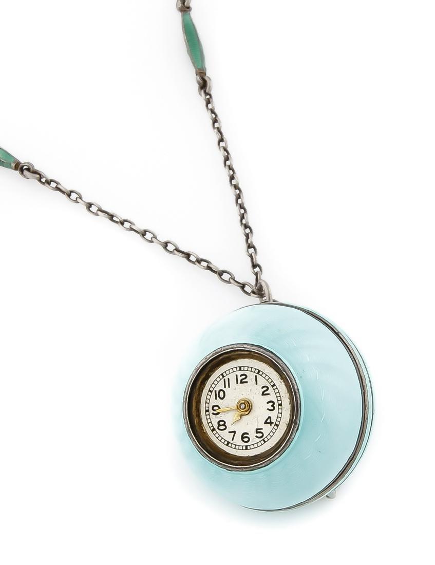 Kugeluhr, türkise Emaille nach Faberge, Zylinder
