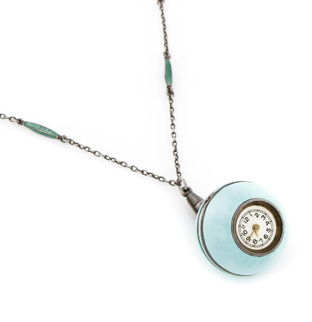 Kugeluhr, türkise Emaille nach Faberge, Zylinder - 2
