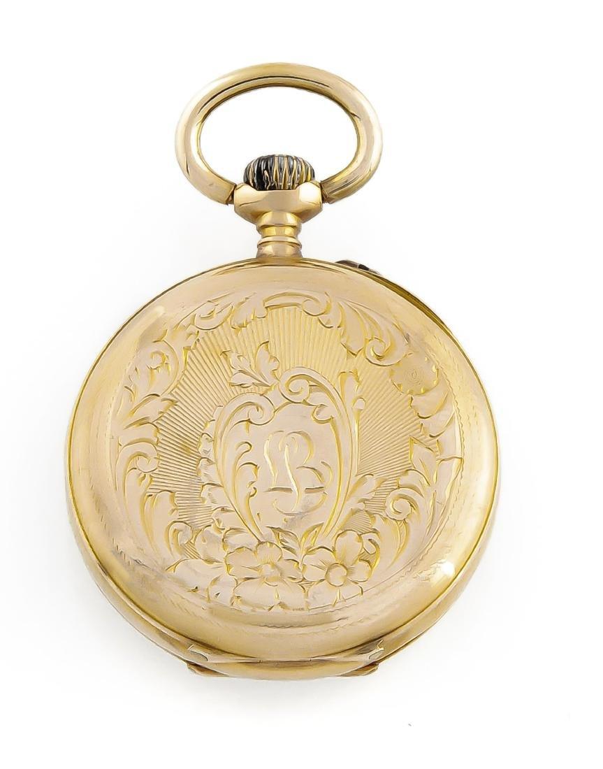 Damentaschenuhr 585 Gold 2 Deckel, Zylinderwerk, - 2