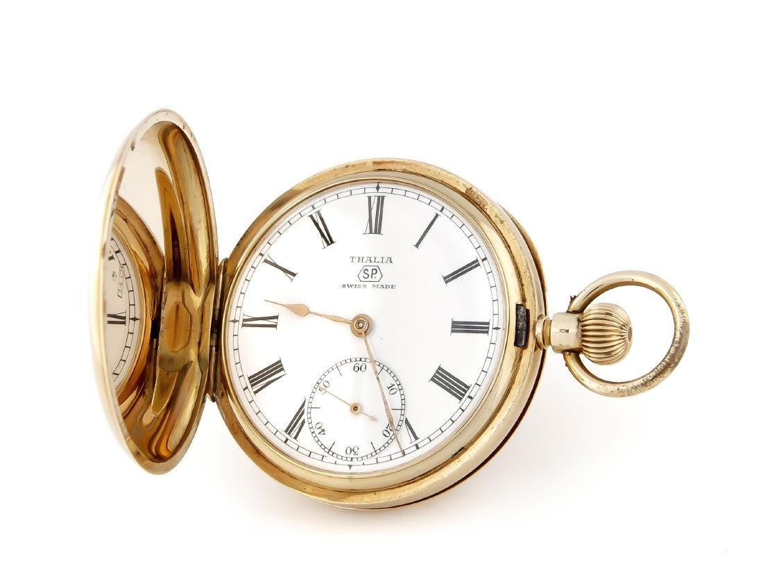 Herren-Sprungdeckeltaschenuhr, Thalia, 585 Gold,