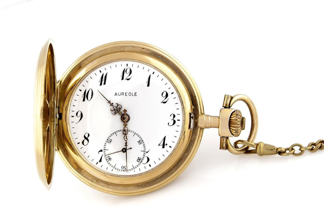 Herren-Sprungdeckeltaschenuhr Aureole, 585 Gold,