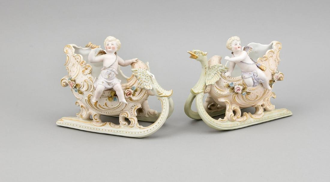 Sleigh with putti, 20th cent., Decorative sleigh with