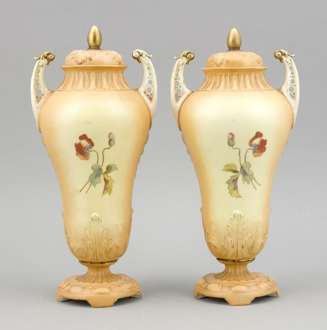 Pair of Victorian Lid Vases, England, 19th c., - 2