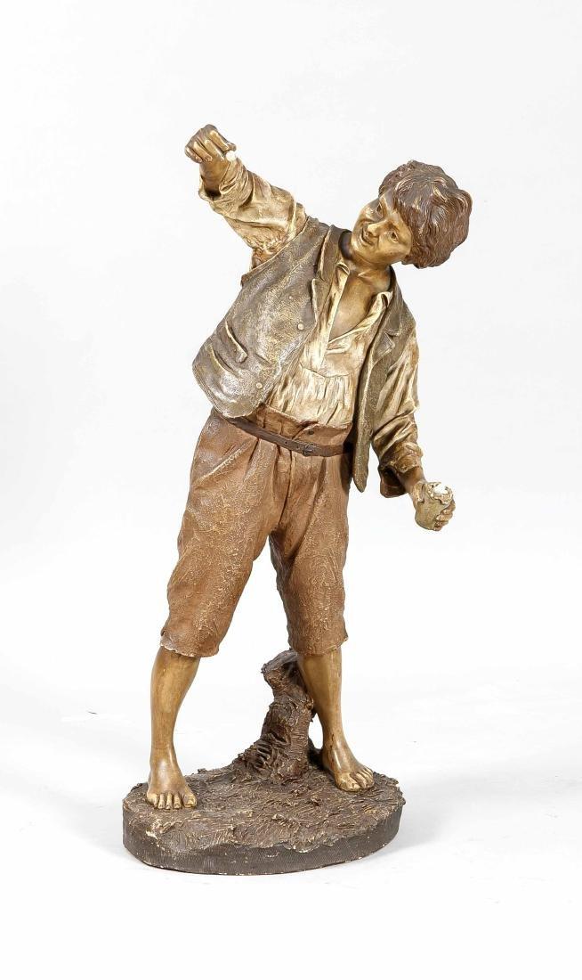 Große Keramikfigur, um 1900, Goldscheider Wien, Junge