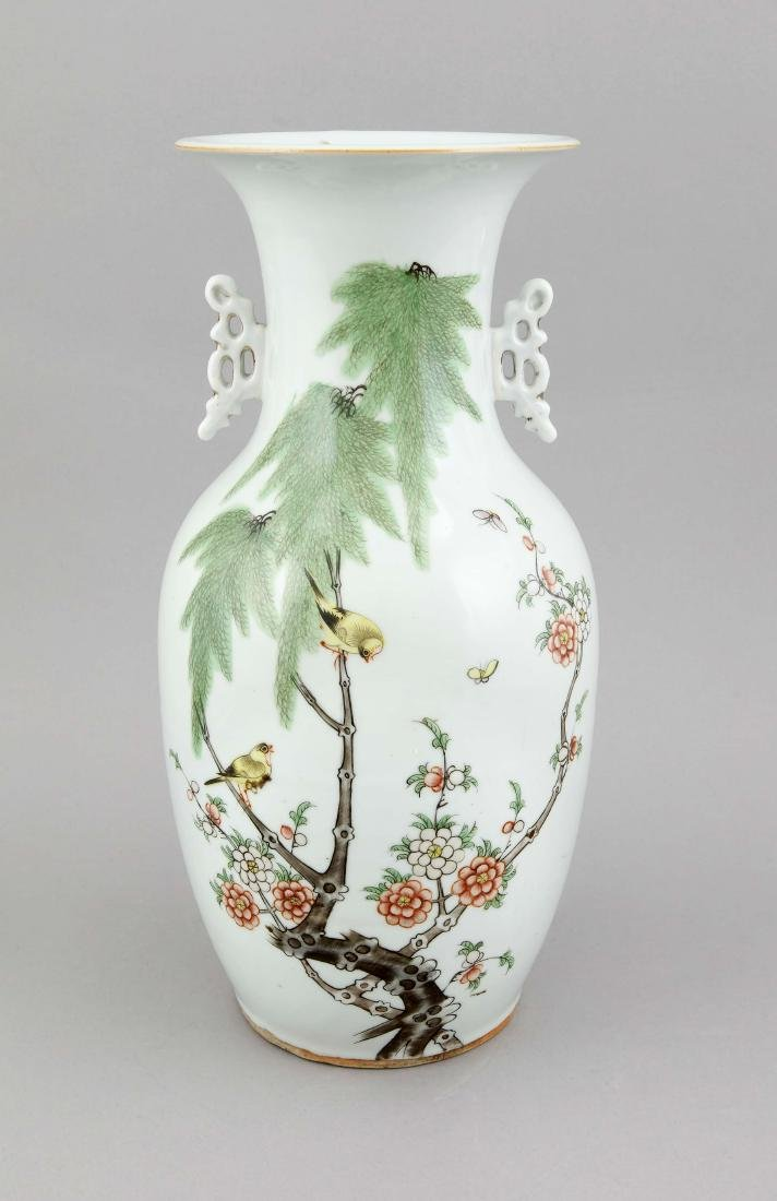 A 19th century Chinese famille rose vase, porcelain,