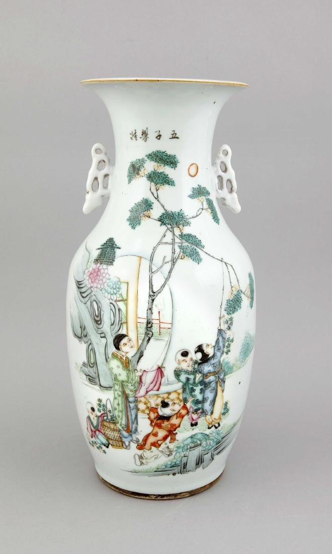 A tall 19th-century Chinese famille rose vase,