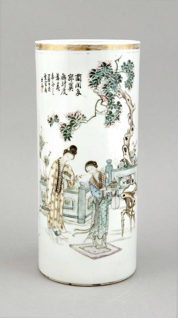 A Mid-20th century Chinese famille rose cylinder vase,