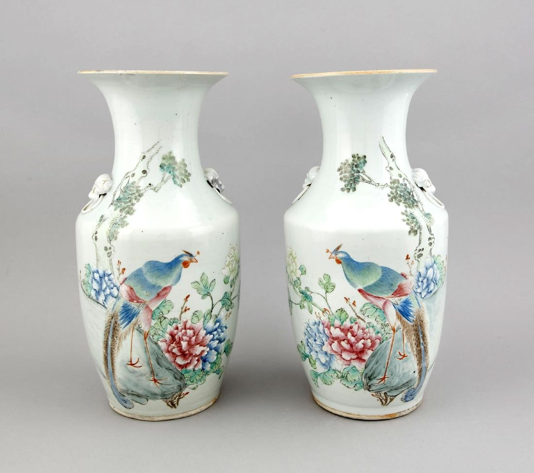 Pair Famille rose vases, China, probably 18 c.