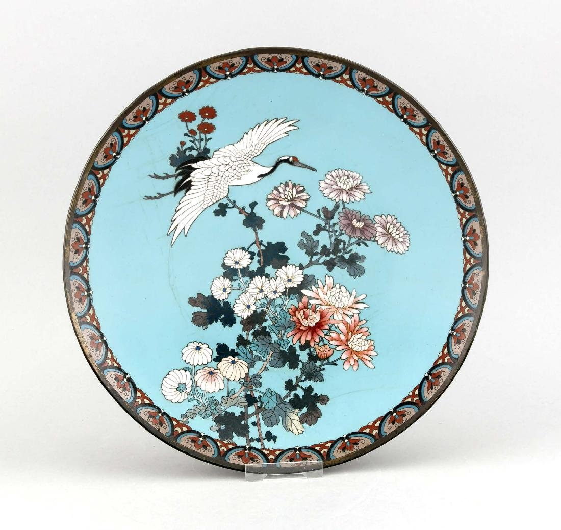 A 19th-century Chinese cloisonné plate, flowers and
