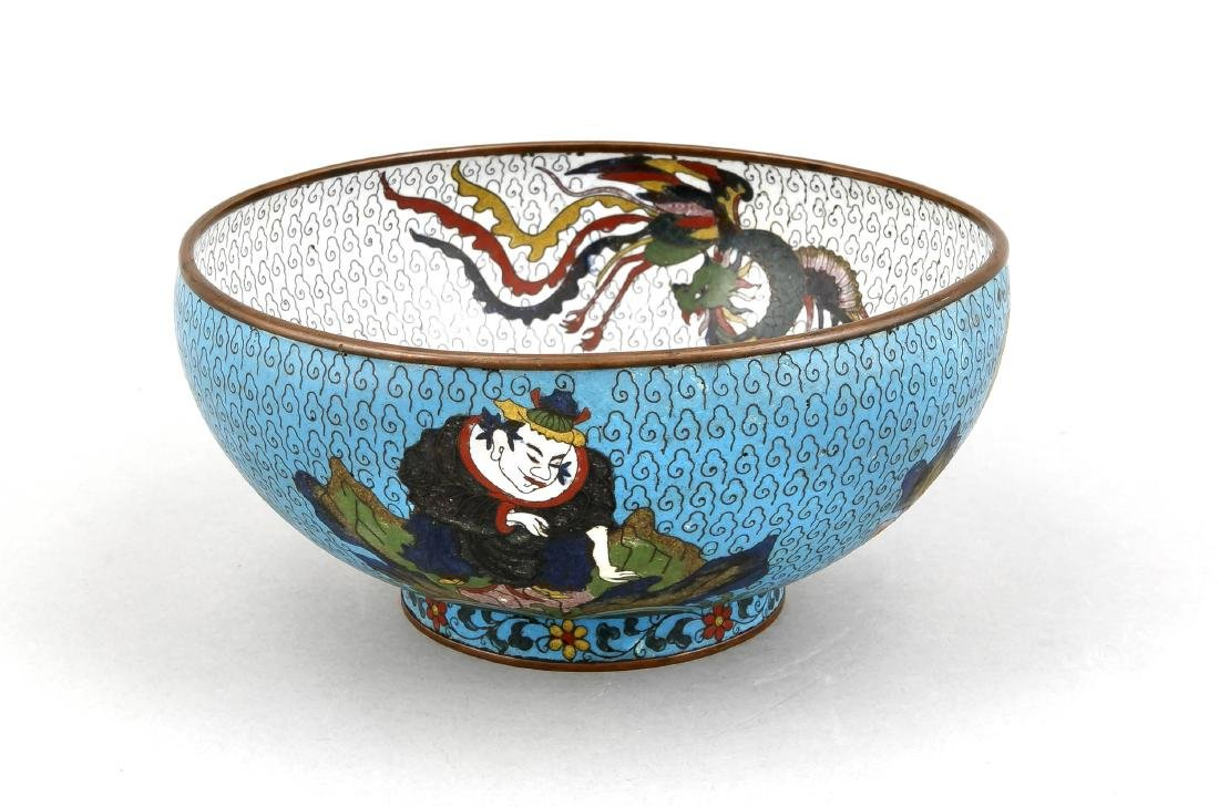 A 19th-century Chinese cloisonné bowl, the side with 4